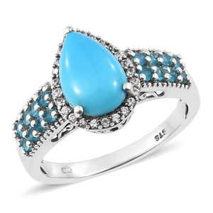 Arizona Sleeping Beauty Turquoise, Multi Gemstone Platinum Over Sterling Silver Ring (Size 10.0) TGW 3.73 cts.