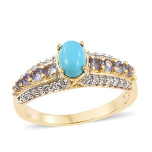 Arizona Sleeping Beauty Turquoise, Multi Gemstone Vermeil YG Over Sterling Silver Ring (Size 7.0) TGW 1.73 cts.