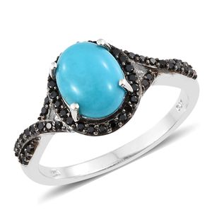 Arizona Sleeping Beauty Turquoise, Thai Black Spinel Black Rhodium & Platinum Over Sterling Silver Ring (Size 8.0) TGW 3.07 cts.