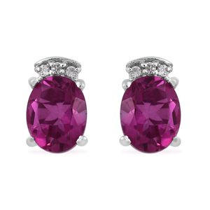 Radiant Orchid Quartz, Cambodian Zircon Platinum Over Sterling Silver Stud Earrings TGW 4.02 cts.