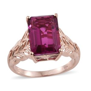 Radiant Orchid Quartz Vermeil RG Over Sterling Silver Ring (Size 10.0) TGW 7.80 cts.