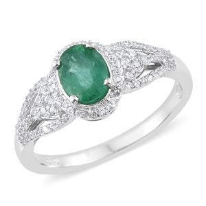 Brazilian Emerald, Cambodian Zircon Platinum Over Sterling Silver Ring (Size 10.0) TGW 1.63 cts.