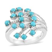 Arizona Sleeping Beauty Turquoise, Cambodian Zircon Platinum Over Sterling Silver Ring (Size 5.0) TGW 2.12 cts.
