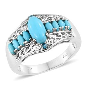 Memorial Day Doorbuster Arizona Sleeping Beauty Turquoise, Malgache Neon Apatite Platinum Over Sterling Silver Ring (Size 7.0) TGW 2.15 cts.