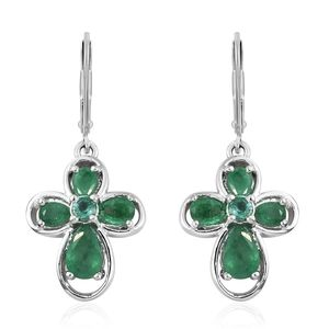 Brazilian Emerald Platinum Over Sterling Silver Lever Back Earrings TGW 1.81 cts.