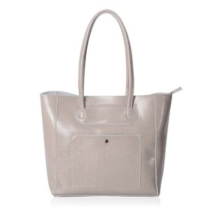 Gray Genuine Leather Tote Bag (16x5x12 in) with Standing Studs