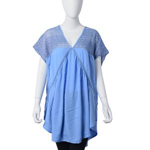 Sky Blue 70% Viscose and 30% Cotton Lace V-Neck Pleated Curved Hem Blouse (One Size)