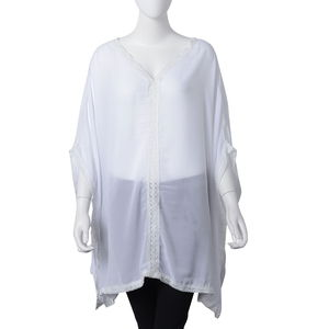 White 100% Polyester Boho Lace Bolder Blouse Length Kaftan (One Size)