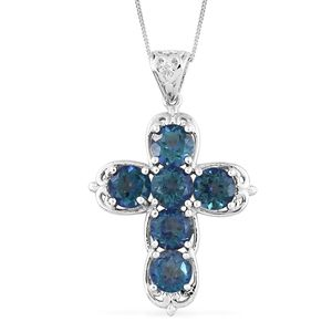 Mystic Neptune Topaz Platinum Over Sterling Silver Cross Pendant With Chain (20 in) TGW 5.82 cts.