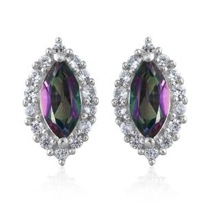 Northern Lights Mystic Topaz, Cambodian Zircon Platinum Over Sterling Silver Stud Earrings TGW 1.91 cts.