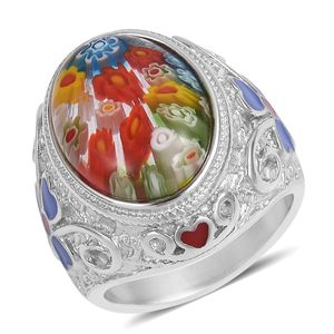 Murano Millefiori Glass, Enameled Stainless Steel Clover Ring (Size 8.0) TGW 25.00 cts.
