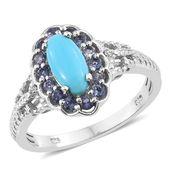 Arizona Sleeping Beauty Turquoise, Multi Gemstone Platinum Over Sterling Silver Ring (Size 10.0) TGW 1.63 cts.