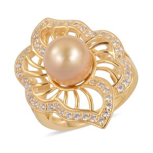 South Sea Golden Pearl (10-10.5 mm), White Zircon 14K YG Over Sterling Silver Ring (Size 7.0) TGW 1.00 cts.