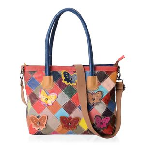 Chaos By Elsie Multi Color Checker Pattern Genuine Leather Tote Bag (17x6x11 in) with Removable Shoulder Strap (58 in)