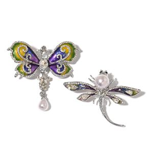 Set of 2 White and Black Austrian Crystal, Enameled Silvertone Dragonfly and Butterfly Brooch