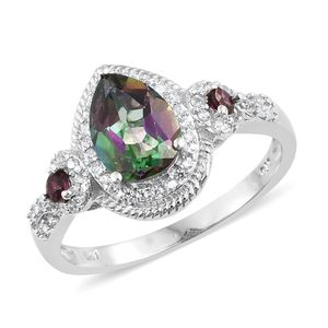 Northern Lights Mystic Topaz, Multi Gemstone Platinum Over Sterling Silver Ring (Size 7.0) TGW 2.87 cts.