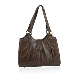 Dark Brown Genuine Leather RFID Crocodile Embossed Shoulder Bag (16x3.75x12.5 in)