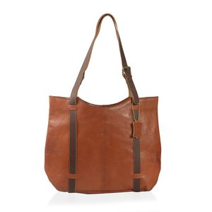 Cognac Genuine Leather RFID Saddle Shoulder Bag (17x3.5x12 in)