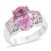 KARIS Collection - Simulated Pink Sapphire Platinum Bond Brass Ring (Size 7.0) TGW 8.91 cts.