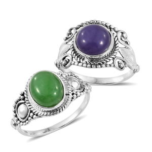 Set of 2 Burmese Purple and Green Jade Sterling Silver Rings (Size 5) TGW 9.63 cts.