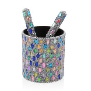 Set of 3 Boom Color Beaded Pen with Matching Beaded Pen Pot (2.75x3 in)