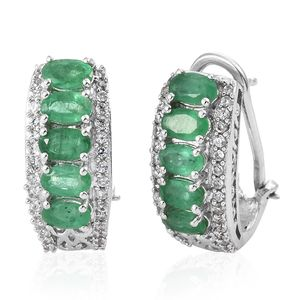 Brazilian Emerald, Cambodian Zircon Platinum Over Sterling Silver Omega Clip Earrings TGW 3.00 cts.