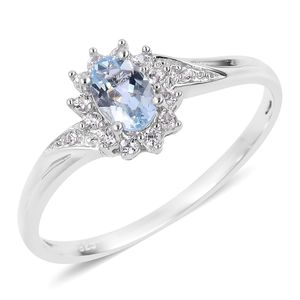 Espirito Santo Aquamarine, Natural White Zircon Sterling Silver Ring (Size 5.0) TGW 0.66 cts.