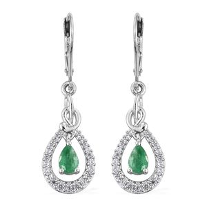 Brazilian Emerald, Cambodian Zircon Platinum Over Sterling Silver Lever Back Inner Drop Earrings TGW 1.29 cts.