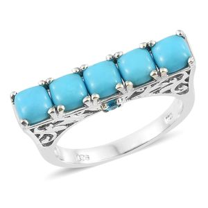 Arizona Sleeping Beauty Turquoise, Malgache Neon Apatite Platinum Over Sterling Silver 5 Stone Ring (Size 7.0) TGW 3.06 cts.