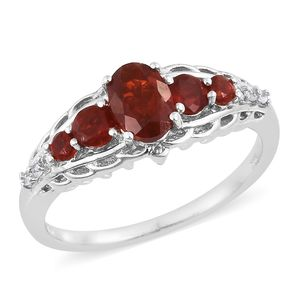 Crimson Fire Opal, Cambodian Zircon Platinum Over Sterling Silver Ring (Size 5.0) TGW 0.92 cts.