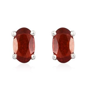 Crimson Fire Opal Platinum Over Sterling Silver Stud Earrings TGW 0.25 cts.