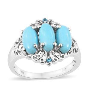 Arizona Sleeping Beauty Turquoise, Malgache Neon Apatite Platinum Over Sterling Silver Ring (Size 7.0) TGW 3.90 cts.