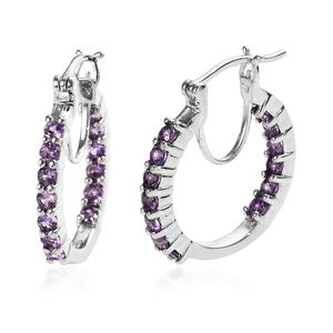KARIS Collection - Lab Created Purple Sapphire Platinum Bond Brass Inside Out Hoop Earrings TGW 2.25 cts.