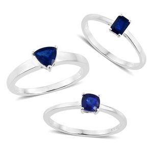 Blue Spinel Sterling Silver Set of 3 Solitaire Ring (Size 8) TGW 1.90 cts.