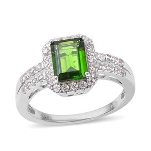 Russian Diopside, White Zircon Sterling Silver Ring (Size 10.0) TGW 2.55 cts.