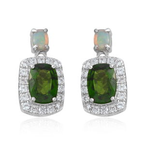 Russian Diopside, Multi Gemstone Sterling Silver Drop Earrings TGW 2.48 cts.