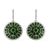 Russian Diopside, Cambodian Zircon Platinum Over Sterling Silver Cluster Lever Back Earrings TGW 11.23 cts.