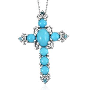 Arizona Sleeping Beauty Turquoise, Malgache Neon Apatite Platinum Over Sterling Silver Cross Pendant With Chain (20 in) TGW 1.90 cts.