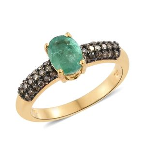 Brazilian Emerald, Natural Champagne Diamond Black Rhodium & Vermeil YG Over Sterling Silver Ring (Size 8.0) TDiaWt 0.36 cts, TGW 1.46 cts.