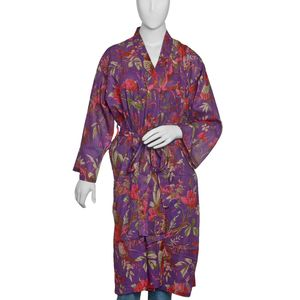 Bird Print Collection - Purple 100% Cotton Screen Printed Kimono (One Size)