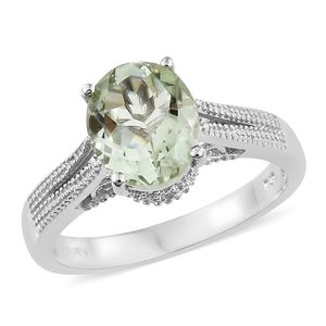 Green Amethyst Platinum Bond Brass Solitaire Ring (Size 10.0) TGW 3.25 cts.