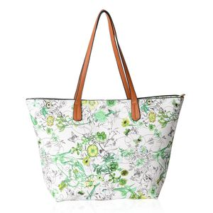 White with Green Flower Pattern Faux Leather Tote Bag (17x4x10 in)