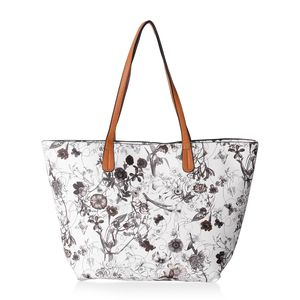 White and Black Flower Pattern Faux Leather Tote Bag (17x4x10 in)