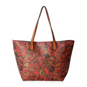 Red with Multi Color Flower Pattern Faux Leather Tote Bag (18.1x4x11.4 in)