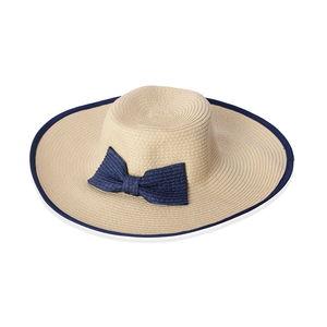 Ivory 100% Straw Paper Bow Floppy Hat (One Size)