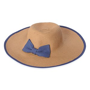 Brown 100% Straw Paper Bow Floppy Hat (One Size)
