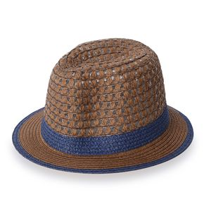 Brown 100% Straw Paper Hat with Blue Band (9.25x4.5 in)