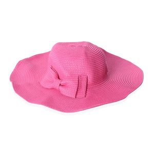 Pink 100% Straw Paper Sun Hat with Bowknot (15.5 in)