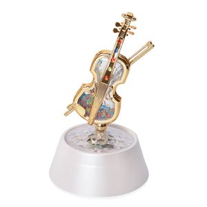White with Multicolor Violin Shape Wind up Spring Music Box with LED Light (4.3x7.8 in)