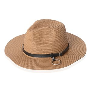 Brown 100% Straw Paper Hat with Ring & Buckle (One Size)